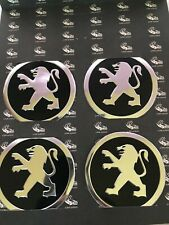 Peugeot Wheel Cap Metal Aluminium Stickers 4x60mm Fits on Alloy Centre Hub