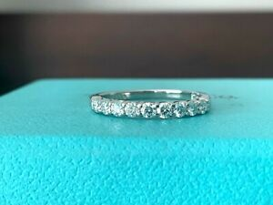 Tiffany & Co Platinum Diamond 2.2 mm EMBRACE .27 c Eternity Wedding Ring $4k NEW
