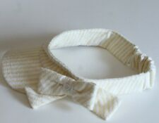 Chanel Visor Terry Cloth Yellow White Stripe Bow  Elastic Back One Size