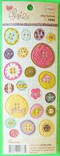 21pc Chip Board Button Stickers Love Elsie Memories Emma Rounds c2007 (1 Sheet)