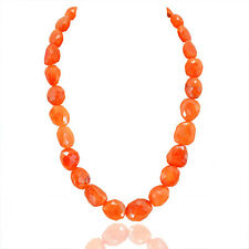 BREATHTAKING QUALITY 679.60 CTS NATURAL ORANGE CARNELIAN FACETED BEADS NECKLACE