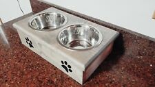 Double small Elevated Dog Dish  small 2 Bowl Feeding Stand yorkie, paws ADD NAME