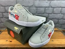 PUMA LADIES UK 6 EU 39 SUEDE CLASSIC EMBROIDERED FLORAL LIGHT GREY TRAINERS M