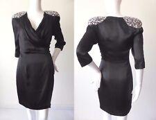 SEDUCE  Black Silk Wrap Mini Dress Size 6 - 8  US 2 - 4 rrp $499.00