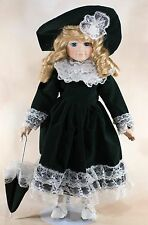 """Collector's Porcelain Doll 15"""" Blond Hair Blue Eyes With Stand"""