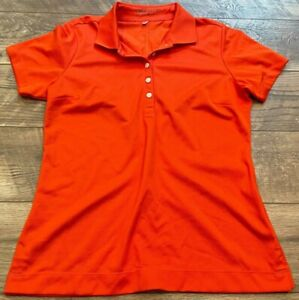 NIKE driFIT Golf Orange s/s Gym Yoga Athletic Polo Shirt Top womens Medium MD