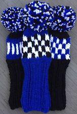 "3 HAND KNIT 8"" GOLF HEAD COVERS BLACK WHITE ROYAL BLUE HYBRID IRONS FUN GIFT"
