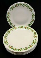 "Royal Norfolk Holly and Berries 10.5"" Dinner Plates Set of 6 White"