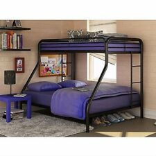 Twin-Over-Full Metal Bunk Bed Room Contemporary Girls Boys Sleek