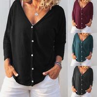 ZANZEA Womens Casual V Neck Baggy Tops Blouse Ladies Long Sleeve Button Shirts