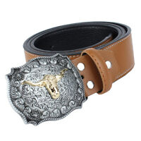 Mens Western Cowboy Leather Belt Cow Head Buckle American Rider Motorcyclist