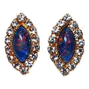 GOLD PLATED EARRINGS SET WITH OPAL TRIPLETS