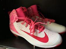 530e701611c Nike Alpha Huarache Elite Pink White Cleats Breast Cancer 923428-101 Sz13.5