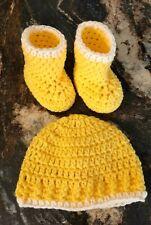 Newly Crocheted Newborn to 3 Months Beanie and Booties. Bright Yellow/ Cream.