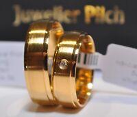 oder Weißgold  mit Diamanten 16 x 0,015ct 1 Paar Trauringe Gelb- Trends Rot