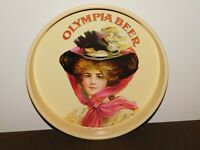 """VINTAGE 13"""" ACROSS 1972 OLYMPIA BREWING BEER VICTORIAN LADY  METAL SERVING TRAY"""