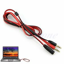 1M 3.5mm Female to Dual Male Headphone Mic Audio Y Splitter Extension Cable New