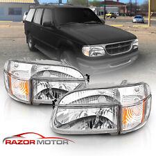 1995-2001 Ford Explorer/1997 Mountaineer Chrome Headlights+Corner Signal Lamps