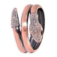 Austrian Crystal SNAKE WRAP Hinged Cuff Bangle BRACELET in ROSE / SILVER / GOLD