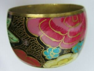 Ladies Bold Wide Brass Metal & Multi-Coloured Floral Hand Painted Bangle