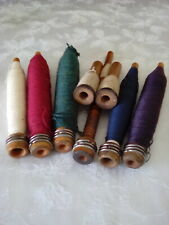 Antique wood wool Bobbins Spools and thread lot of eight for one price good deco