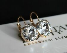 Clear Rivoli Leverback Earrings-Swarovski Crystal Elements Choose a Finish