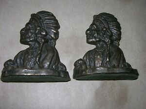 Vintage Native American Indian Chief Iron Bookends