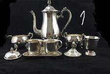 Silver Plated 9 Pc Assorted Pieces Of Coffee Server Creamer, Etc.