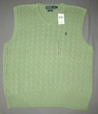NEW! Men's Polo Ralph Lauren 100% Cotton Cable Knit V-Neck Sweater Vest Large