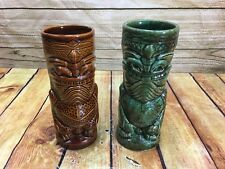 Set Of 2 LARGE 2001 MINT! TIKI FARM MUG w/ HANDLE TIKI BAR Mugs Green Brown