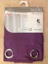 TODAY Azay Eyelet Single Panel Curtain, Purple, 140 x 260 cm, Entièrement neuf sous emballage, (o)