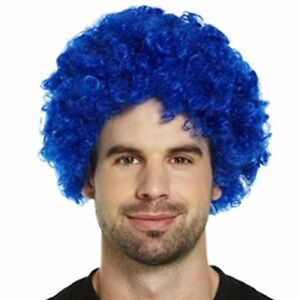 Adult Blue Clown Wig - Circus - Afro - Party - Fancy Dress Accessory - Carnival