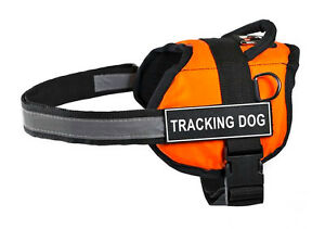 Dean & Tyler DT Works Orange Dog Harness with Patches for Working / Service Dogs