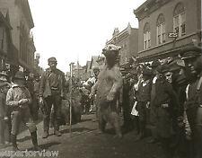 Two Huge Russian Brown Bears Dancing On 5th Street Calumet MI 1904 MUST SEE