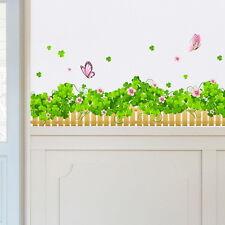 Clover Pink Flower Butterfly Wall Border Decal Removable Windows Sticker Decor