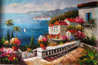 Dream-art Oil painting summer Mediterranean sea landscape with flowers canvas