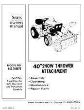 """Craftsman 40"""" Snow Thrower Attach. Manual # 842.260073"""
