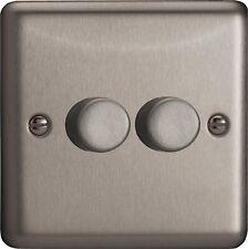 HS2 Varilight V-Dim Series,2-Gang 1 Way 2x250 Watt Dimmer, Brushed Steel