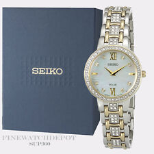Authentic Seiko Ladies Stainless Steel Swarovski Crystals Solar Watch SUP360