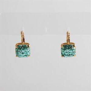 Kate Spade New York Light Blue Turquoise Glitter Leverback Earrings