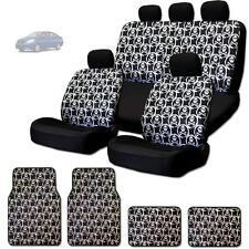 NEW COOL SKULL DESIGN FRONT AND REAR CAR SEAT COVERS FLOOR MATS SET FOR NISSAN
