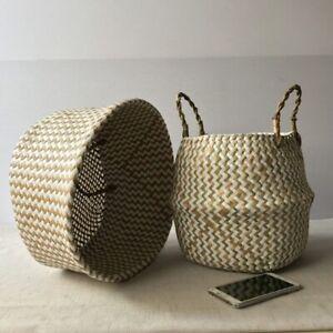 Flexible handmade seaweed flower pot storage, wicker basket home garden waves.