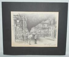 Don Davey Lithograph Charcoal Pencil Sketch Bourbon Street New Orleans ~FC