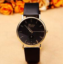 Geneva Platinum Gold Stainless Black Leather Women Quartz Dress Fashion Watch