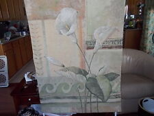 UNBRANDED TAPESTRY OF CALLA LILIES PASTEL BACKGROUND OF GREENS & ORANGES R. VILL