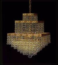 Squarely chandelier with nice ornaments and real crystals. Illustration in Gold