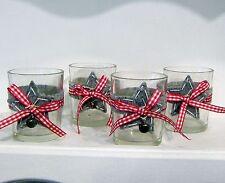 4 Gläser Teelichthalter Stern Karoband Filz Glöckchen Glas Landhaus Stil kleine