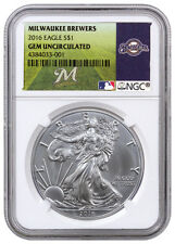 2016 1oz American Silver Eagle NGC GEM BU (MLB Milwaukee Brewers Label) SKU40275