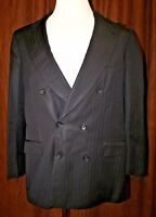 Brioni Double Breasted Blazer Suit Jacket Navy Pinstripe Wool Italy 44L 44