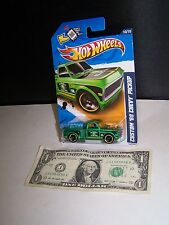 Hot Wheels Green Custom '69 Chevy Pickup Truck - Electric #68 City Works #140